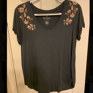 American Eagle Embroidered Soft and Sexy V Neck